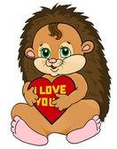 Hérisson mignon tenant un coeur rouge avec les mots je t'aime. carte postale de la Saint-Valentin — Vecteur