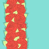 Tło w stylu retro. przy użyciu starych kolorach. czerwone róże i zielonych liści. antyk — Wektor stockowy
