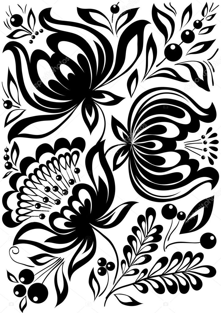 Ornamental Design Flower Abstract Black And White Flowers Stylish Retro Ornament Design Element