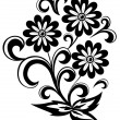 Royalty-Free Stock Vector Image: Black and white abstract flower with leaves and swirls isolated on white background
