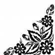 Abstract black and white floral arrangement in the form of border angle. Isolated on white background — Stock Vector #19480721