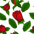 Seamless pattern of red roses on a white background - Stock Vector