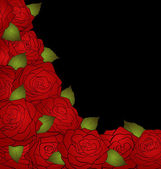 Black background for a card decorated with roses and text — Stock Vector