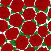 Seamless pattern of red roses on a white background — Stock Vector