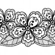 Beautiful black-and-white flower, hand drawing - Imagen vectorial