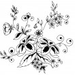 Beautiful floral element. Black-and-white flowers and leaves design element with imitation guipure embroidery. — Stock Vector #19946031