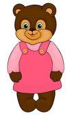 Little girl bear, cartoon, isolated on white — Stock Vector