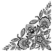 Corner ornamental lace flowers are decorated in black and white — Stock Vector