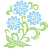 Blue daisies in soft colors. Isolated on white — Stock Vector