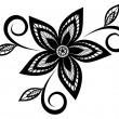 Stock Vector: Black and white floral pattern design element.
