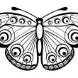 Stock Vector: Beautiful black and white butterfly isolated on white
