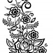 Stock Vector: Black-and-white flowers and leaves. Floral design element in retro style