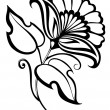 Beautiful black and white flower,retro style — Stock Vector #22370371