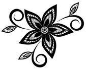 Black and white floral pattern design element. — Stock Vector
