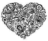 Krásná silueta srdce květy krajka — Stock vektor