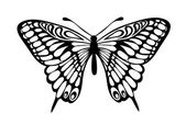Beautiful black and white butterfly isolated on white — Stock Vector