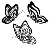 Set of beautiful black and white guipure lace butterflies — Stock Vector