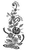 Beautiful floral element. Black-and-white flowers and leaves design element with imitation guipure embroidery. — Stock Vector