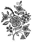 Blanco y negro con flores y hojas de elemento de diseño — Vector de stock