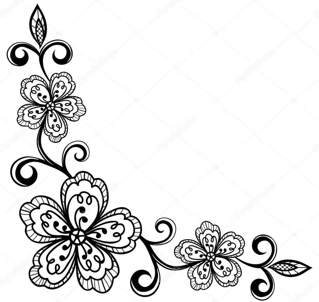 Flower Vector Black And White Corner Flowers Black And White