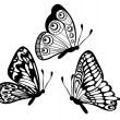 Royalty-Free Stock Vector Image: Set of Beautiful black and white butterfly isolated on white