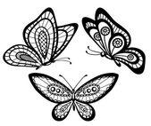 Набор красивых черно-белые гипюр кружева бабочек — Cтоковый вектор