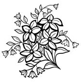Beautiful flower arrangement, a black outline on a white background — Stock Vector