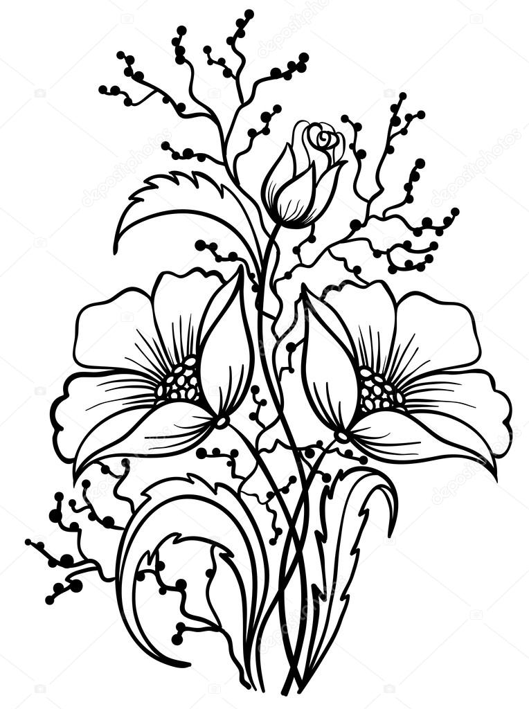 Drawings Of Flowers In Black And White Arrangement of flowers black