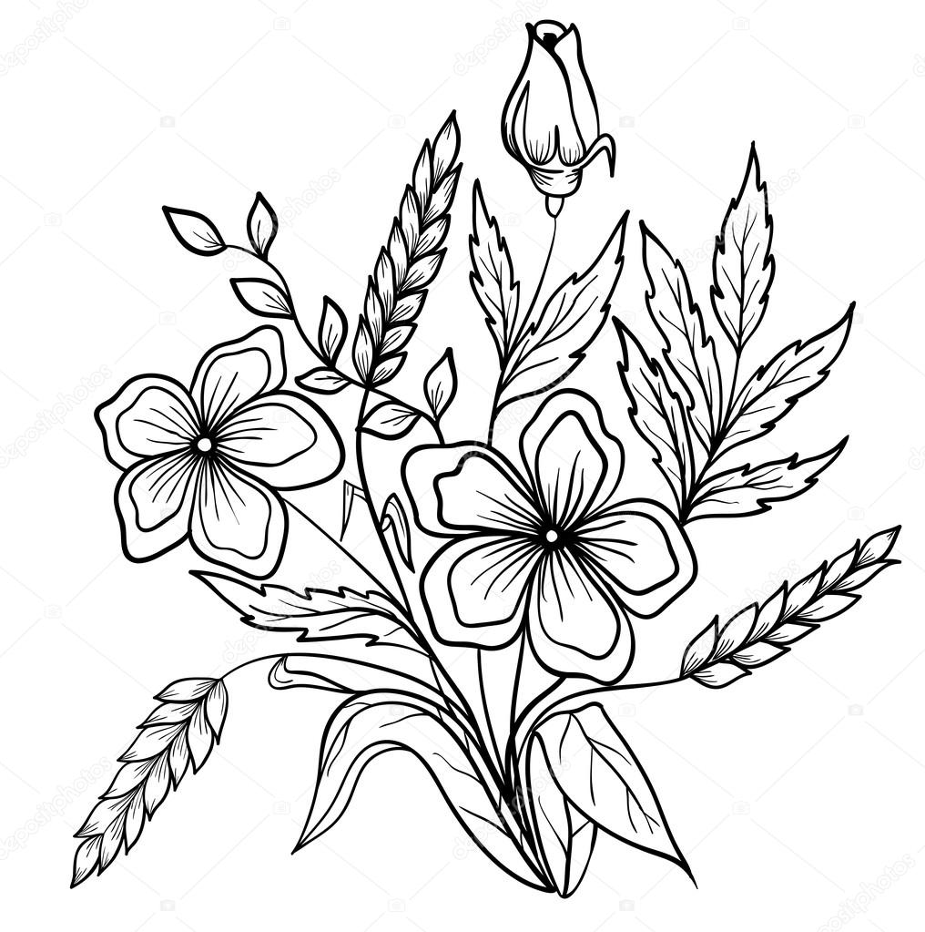 Easy Flower Drawing Outline