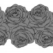 Seamless horizontal frame element of gray roses with black outline — Imagen vectorial