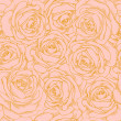 Beautiful seamless background of pink roses with a gold outline in vintage style — Stock Vector #24309851