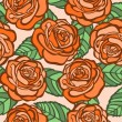 Seamless background. orange roses with green leaves in the old style — Stock Vector