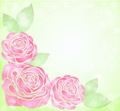 Beautiful background with glitter and pink roses with leaves in the corner — Stock Vector