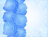 Beautiful background with blue roses and bright sparkles bokeh — Stock Vector
