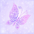 Royalty-Free Stock Imagen vectorial: Beautiful purple butterfly flying against the brilliance and bokeh