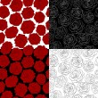 Stock Vector: Set of seamless backgrounds. outline of rose, red, black and white colors.
