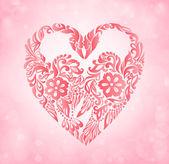 Dois cisnes em uma silhueta de estilo flor do coração. cartão de casamento com glitter e bokeh — Vetor de Stock