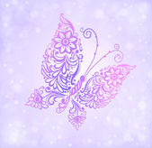 Beautiful purple butterfly flying against the brilliance and bokeh — Stock Vector