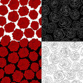 A set of seamless backgrounds. The outline of a rose, red, black and white colors. — Stock Vector