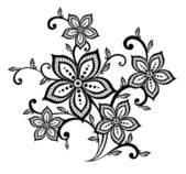 Beautiful black and white floral pattern design element — Stock Vector