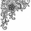 Stock Vector: Beautiful black-and-white lace flower in corner. With space for your text and greetings