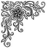 Beautiful black-and-white lace flower in the corner. With space for your text and greetings — Stock Vector