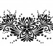 Stock Vector: Black and white lace flowers and leaves isolated on white. Floral design element in retro style.