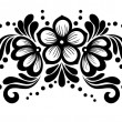 Black and white lace flowers and leaves isolated on white. Floral design element in retro style. — Stock Vector #31013675