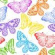 Stock Vector: Beautiful seamless background of butterflies multi colored on white.