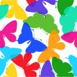 Beautiful seamless background of butterflies multi colored on a white. — Image vectorielle