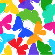 Beautiful seamless background of butterflies multi colored on a white. — Stock Vector
