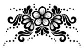 Black and white lace flowers and leaves isolated on white. Floral design element in retro style. — Stock Vector
