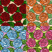 Set of seamless background. roses with green leaves in the old style. — Stock Vector