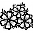 Beautiful floral element. Black-and-white flowers and leaves design element. Floral design element in retro style. — Stock Vector